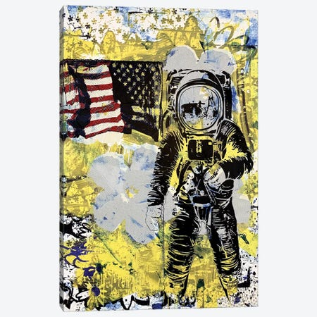 Flower Disaster With MTV Astronaut Canvas Print #TSM19} by Taylor Smith Canvas Wall Art