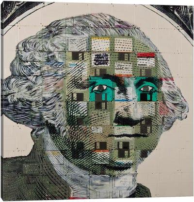 George Washington On Floppy Diskettes Canvas Art Print