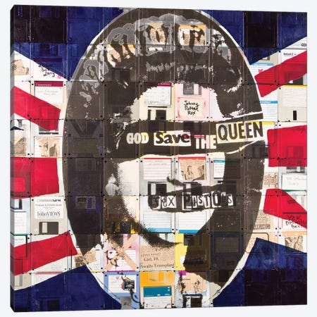 God Save The Queen By Sex Pistols On Floppy Diskettes Canvas Print #TSM23} by Taylor Smith Canvas Print