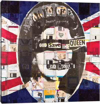 God Save The Queen By Sex Pistols On Floppy Diskettes Canvas Art Print