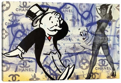 Bettie Page Disaster with Monopoly Man and Casper The Friendly Ghost Canvas Art Print