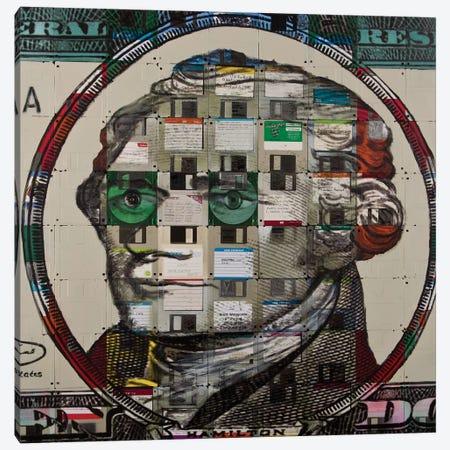 Alexander Hamilton On Floppy Diskettes Canvas Print #TSM6} by Taylor Smith Canvas Art