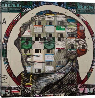 Alexander Hamilton On Floppy Diskettes Canvas Art Print