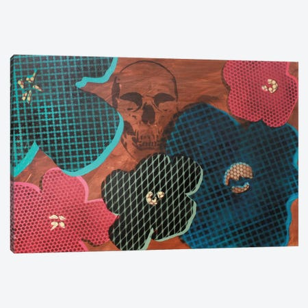 Five Flowers & Skull Canvas Print #TSM86} by Taylor Smith Canvas Art