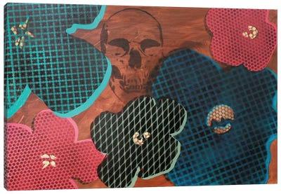 Five Flowers & Skull Canvas Art Print