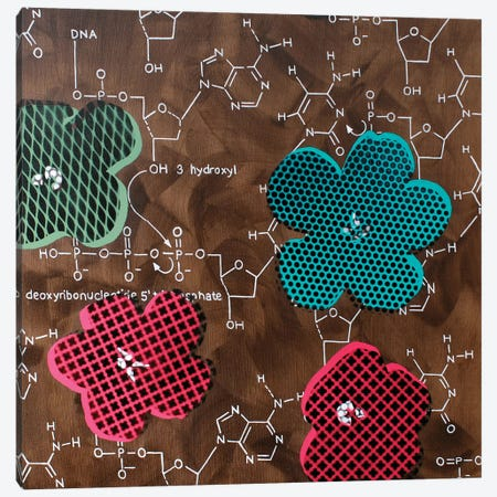 Four Flowers & Chemical DNA Canvas Print #TSM89} by Taylor Smith Canvas Print