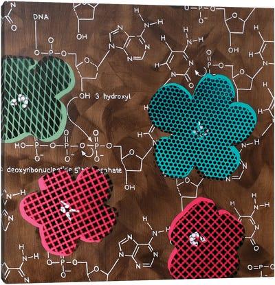 Four Flowers & Chemical DNA Canvas Art Print