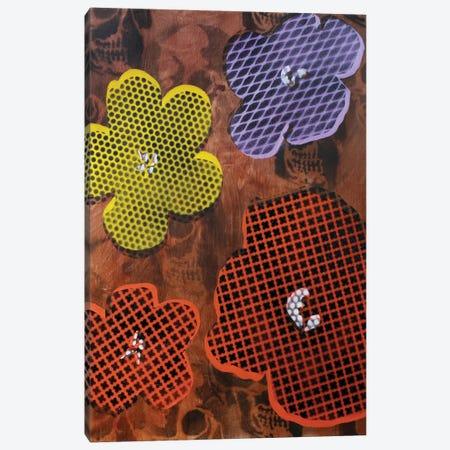Four Flowers & Skulls Canvas Print #TSM90} by Taylor Smith Canvas Artwork
