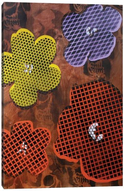 Four Flowers & Skulls Canvas Art Print