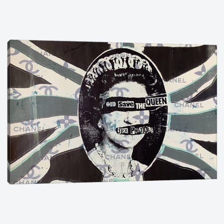 God Save The Queen in Green Canvas Print #TSM97} by Taylor Smith Art Print