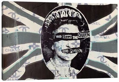 God Save The Queen in Green Canvas Art Print