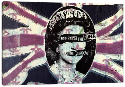 God Save The Queen in Pink Canvas Art Print