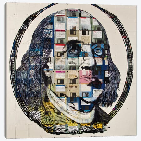 Benjamin Franklin On Floppy Diskettes Canvas Print #TSM9} by Taylor Smith Canvas Art Print