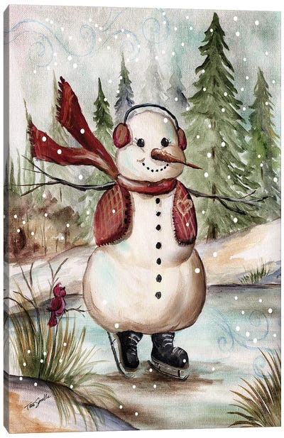 Country Snowman III Canvas Art Print