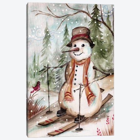Country Snowman IV Canvas Print #TSS101} by Tre Sorelle Studios Canvas Wall Art