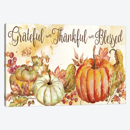 Watercolor Harvest Pumpkin Grateful Thankful Blessed Canvas Print #TSS107} by Tre Sorelle Studios Canvas Print