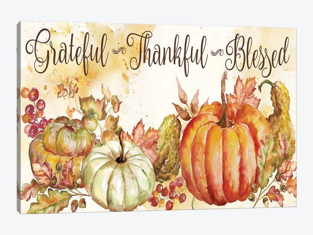 Watercolor Harvest Pumpkin Grateful Thankful Blessed by Tre Sorelle Studios 1-piece Canvas Art Print