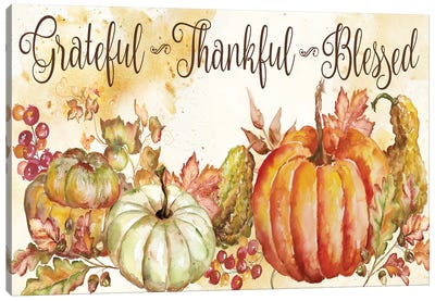 Watercolor Harvest Pumpkin Grateful Thankful Blessed Canvas Art Print