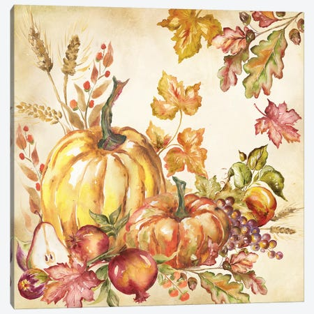 Watercolor Harvest Pumpkins I Canvas Print #TSS108} by Tre Sorelle Studios Canvas Artwork