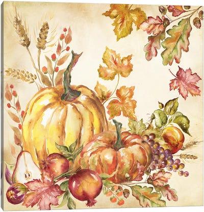 Watercolor Harvest Pumpkins I Canvas Art Print