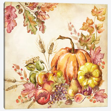 Watercolor Harvest Pumpkins II Canvas Print #TSS109} by Tre Sorelle Studios Canvas Art