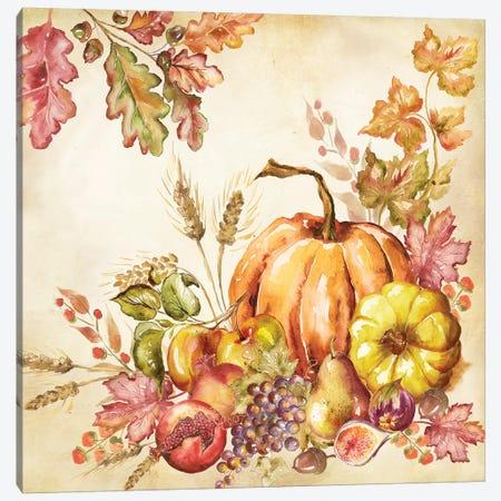 Watercolor Harvest Pumpkins II Canvas Print #TSS109} by Tre Sorelle Studios Canvas Art