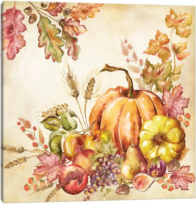 Watercolor Harvest Pumpkins II Canvas Art Print