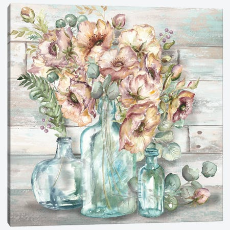 Blush Poppies & Eucalyptus Still Life Canvas Print #TSS10} by Tre Sorelle Studios Canvas Wall Art