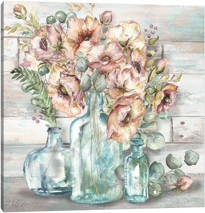 Blush Poppies & Eucalyptus Still Life Canvas Art Print
