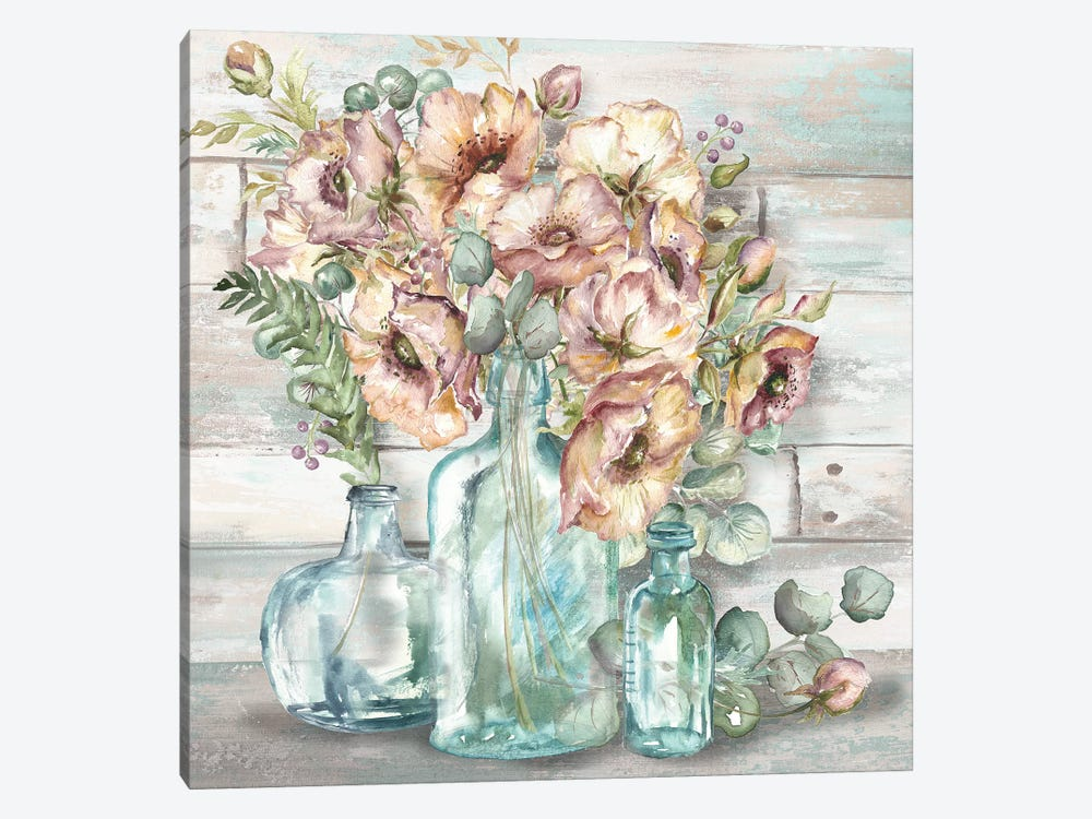 Blush Poppies & Eucalyptus Still Life by Tre Sorelle Studios 1-piece Canvas Wall Art