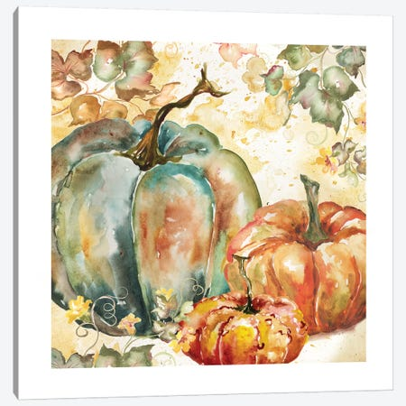 Watercolor Harvest Teal and Orange Pumpkins I Canvas Print #TSS110} by Tre Sorelle Studios Art Print