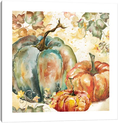 Watercolor Harvest Teal and Orange Pumpkins I Canvas Art Print
