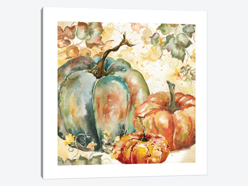 Watercolor Harvest Teal and Orange Pumpkins I 1-piece Canvas Print