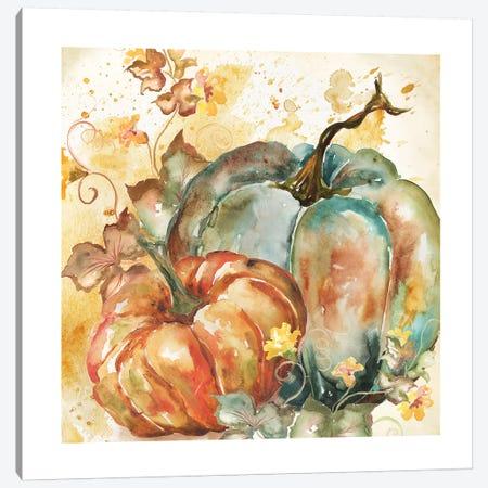 Watercolor Harvest Teal and Orange Pumpkins II Canvas Print #TSS111} by Tre Sorelle Studios Art Print