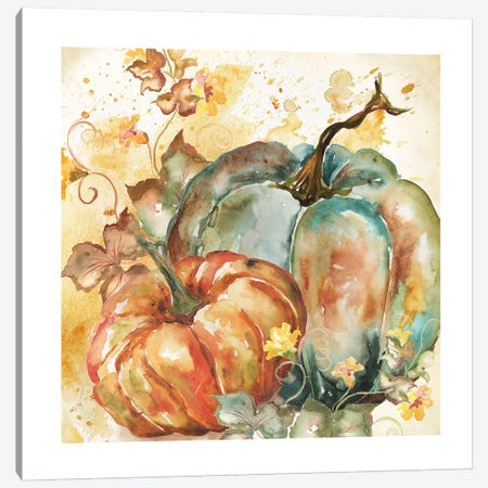 Watercolor Harvest Teal and Orange Pumpkins II Canvas Print #TSS111} by Tre Sorelle Studios Art Print
