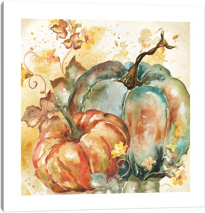Watercolor Harvest Teal and Orange Pumpkins II Canvas Art Print