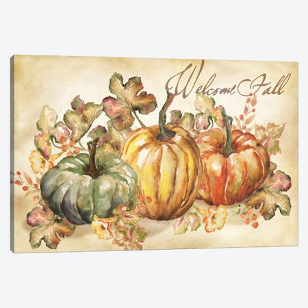 Watercolor Harvest Welcome Fall Canvas Print #TSS113} by Tre Sorelle Studios Canvas Print