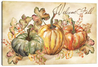 Watercolor Harvest Welcome Fall Canvas Art Print