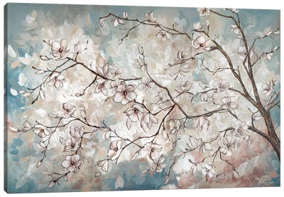 Magnolia Branches On Blue Canvas Art Print