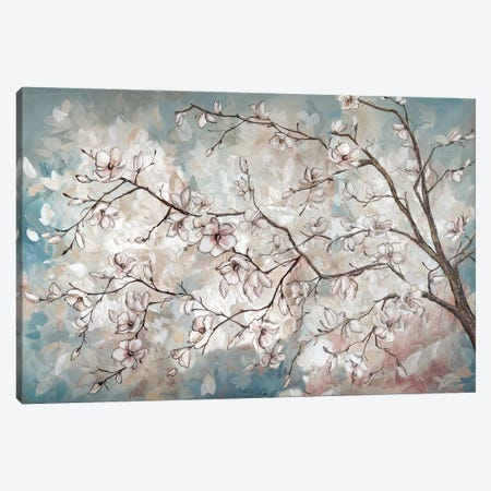 Magnolia Branches On Blue 3-Piece Canvas #TSS116} by Tre Sorelle Studios Canvas Art
