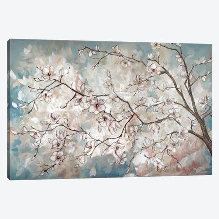 Magnolia Branches On Blue Canvas Print #TSS116} by Tre Sorelle Studios Canvas Art