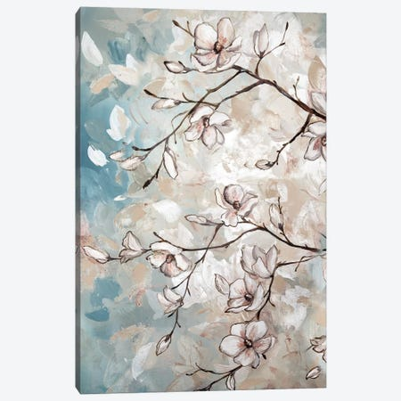 Magnolia Branches On Blue I Canvas Print #TSS117} by Tre Sorelle Studios Canvas Artwork