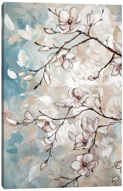 Magnolia Branches On Blue I Canvas Art Print