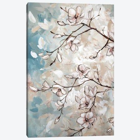 Magnolia Branches On Blue I Canvas Print #TSS117} by Tre Sorelle Studios Canvas Artwork