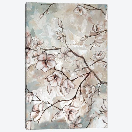 Magnolia Branches On Blue II 3-Piece Canvas #TSS118} by Tre Sorelle Studios Canvas Print
