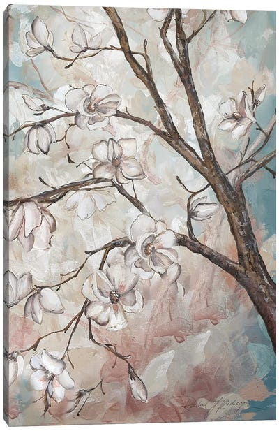 Magnolia Branches On Blue III Canvas Art Print