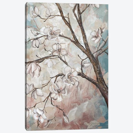 Magnolia Branches On Blue III Canvas Print #TSS119} by Tre Sorelle Studios Art Print