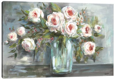 Pink Blooms Still Life Landscape Canvas Art Print