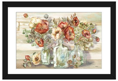 Spice Poppies and Eucalyptus In Bottles Landscape Framed Art Print