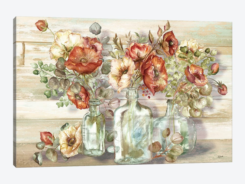 Spice Poppies and Eucalyptus In Bottles Landscape by Tre Sorelle Studios 1-piece Canvas Print